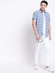 Blue Half Sleeves Cotton Shirt