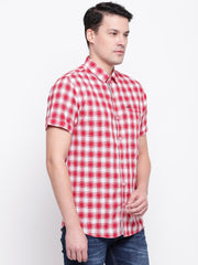 Red Half Sleeves Cotton Shirt