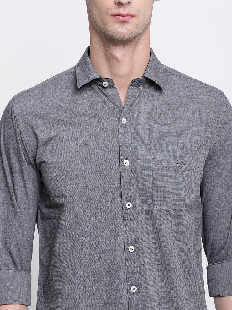 Cotton Full Sleeves Grey Casual Shirt