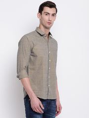 Cotton Full Sleeves Brown Casual Shirt