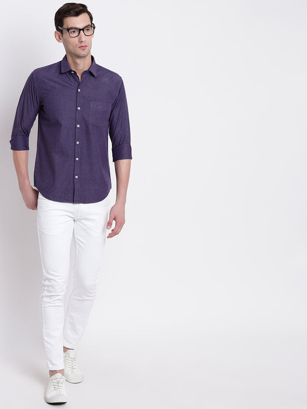 Cotton Full Sleeves Purple Casual Shirt