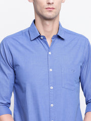 Cotton Full Sleeves Blue Casual Shirt