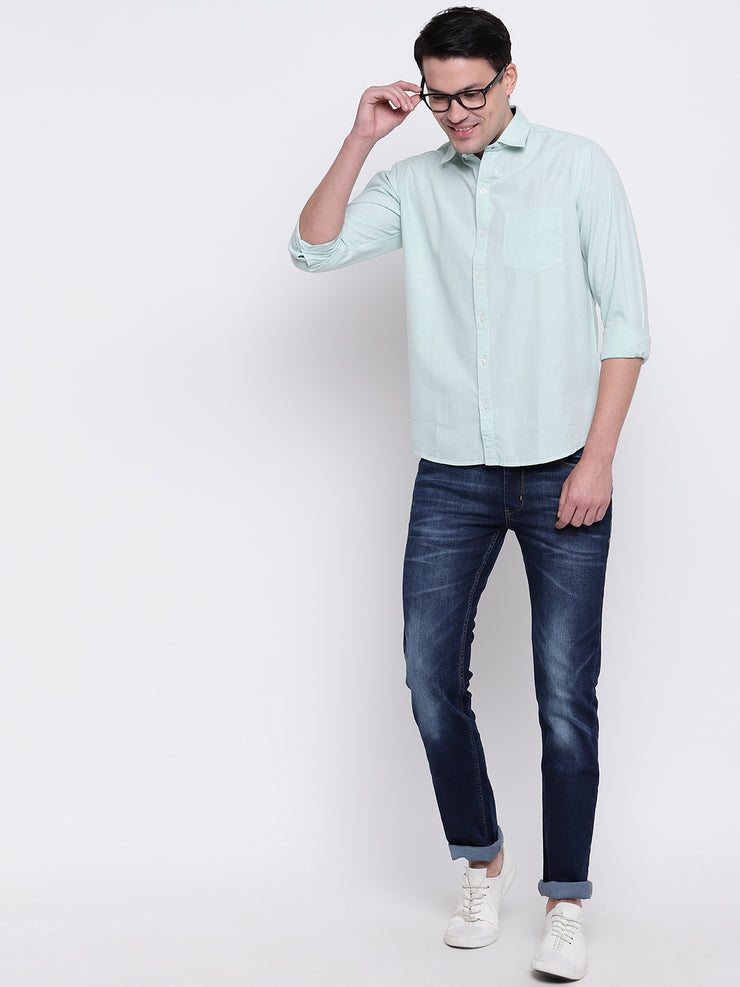 Cotton Full Sleeves Green Casual Shirt