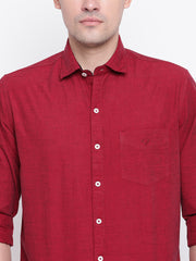 Cotton Full Sleeves Maroon Casual Shirt