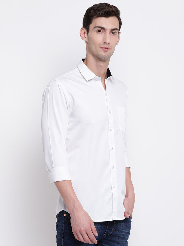 White Casual Full Sleeves Satin Shirt