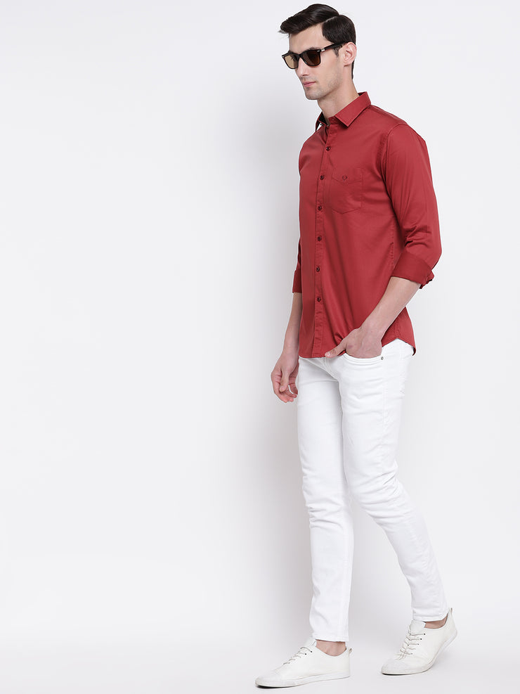 Orange Casual Full Sleeves Satin Shirt