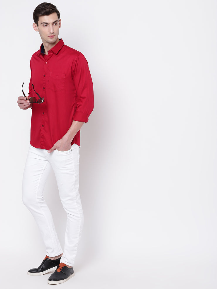 Red Casual Full Sleeves Satin Shirt