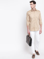 Beige Casual Full Sleeves Satin Shirt