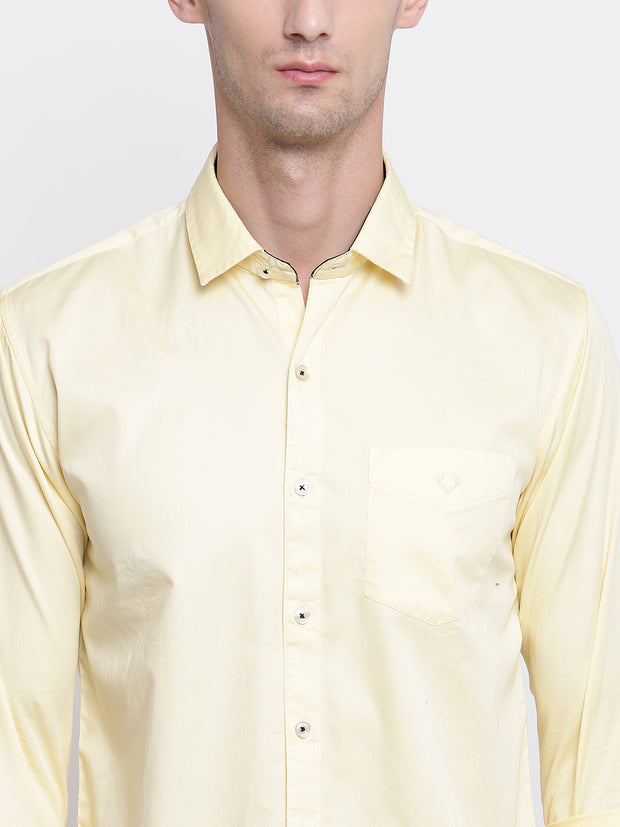 Yellow Casual Full Sleeves Satin Shirt