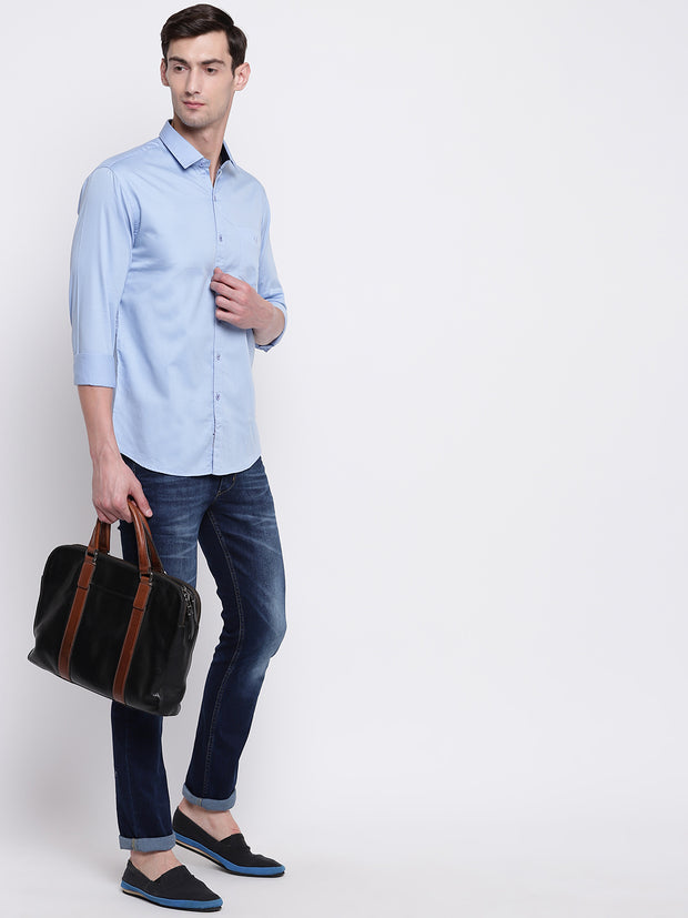 Blue Casual Full Sleeves Satin Shirt