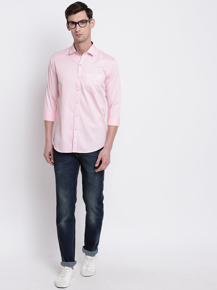 Pink Casual Full Sleeves Satin Shirt