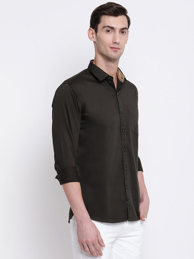 Green Casual Full Sleeves Satin Shirt