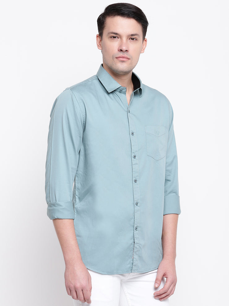 Turquoise Casual Full Sleeves Satin Shirt