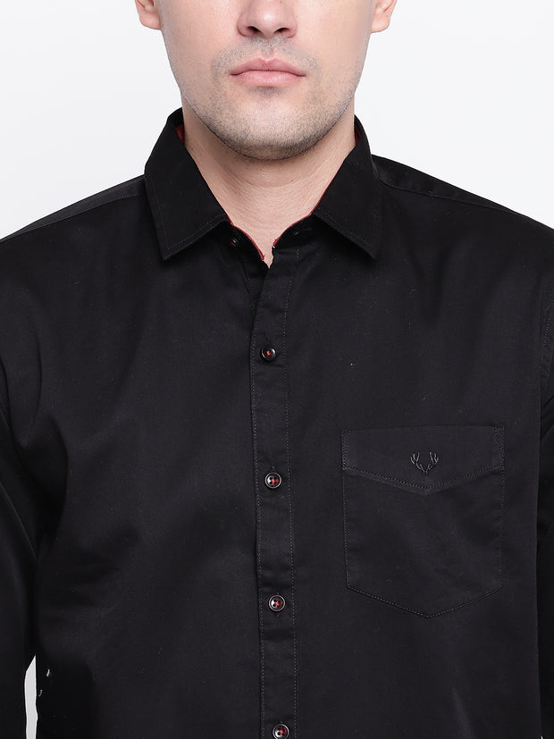 Black and Red Casual Full Sleeves Satin Shirt