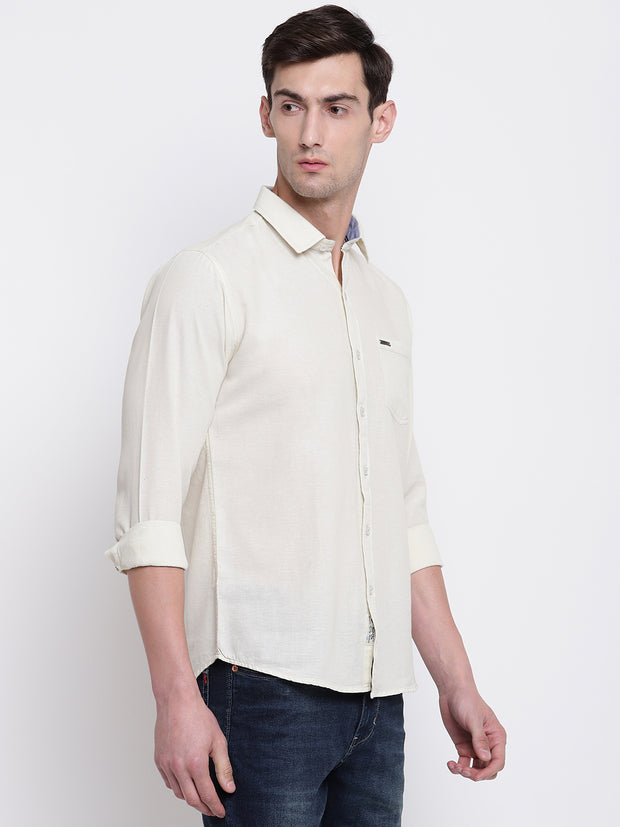 Cream Solid Cotton Full Sleeves Shirt