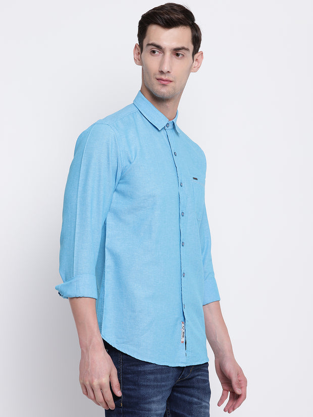 Blue Solid Cotton Full Sleeves Shirt