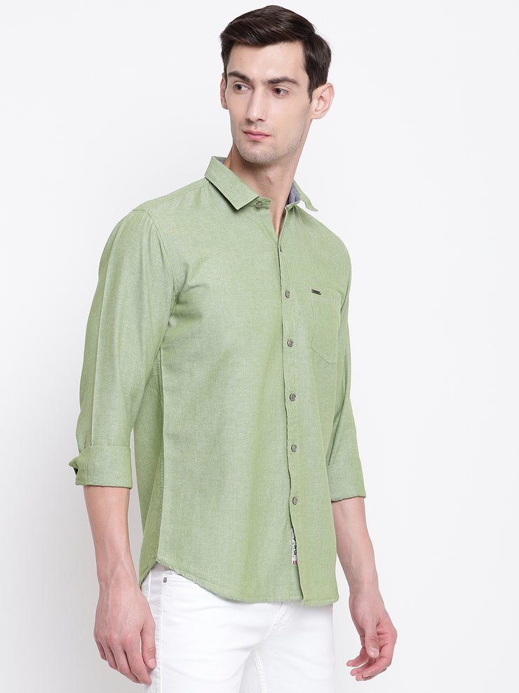 Green Solid Cotton Full Sleeves Shirt
