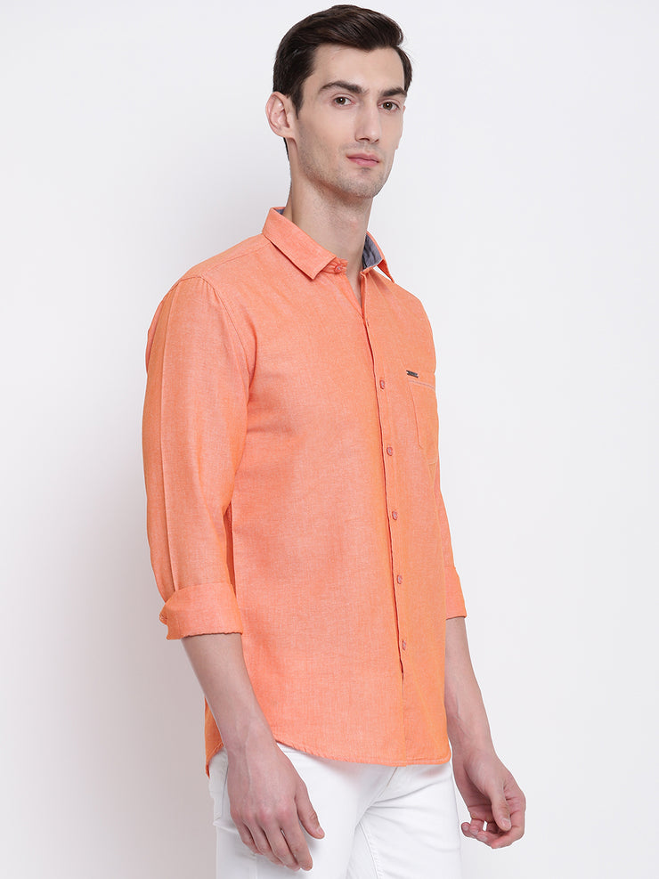 Orange Solid Cotton Full Sleeves Shirt