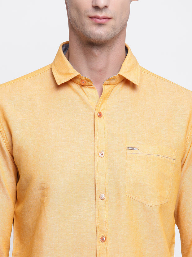 Yellow Solid Cotton Full Sleeves Shirt