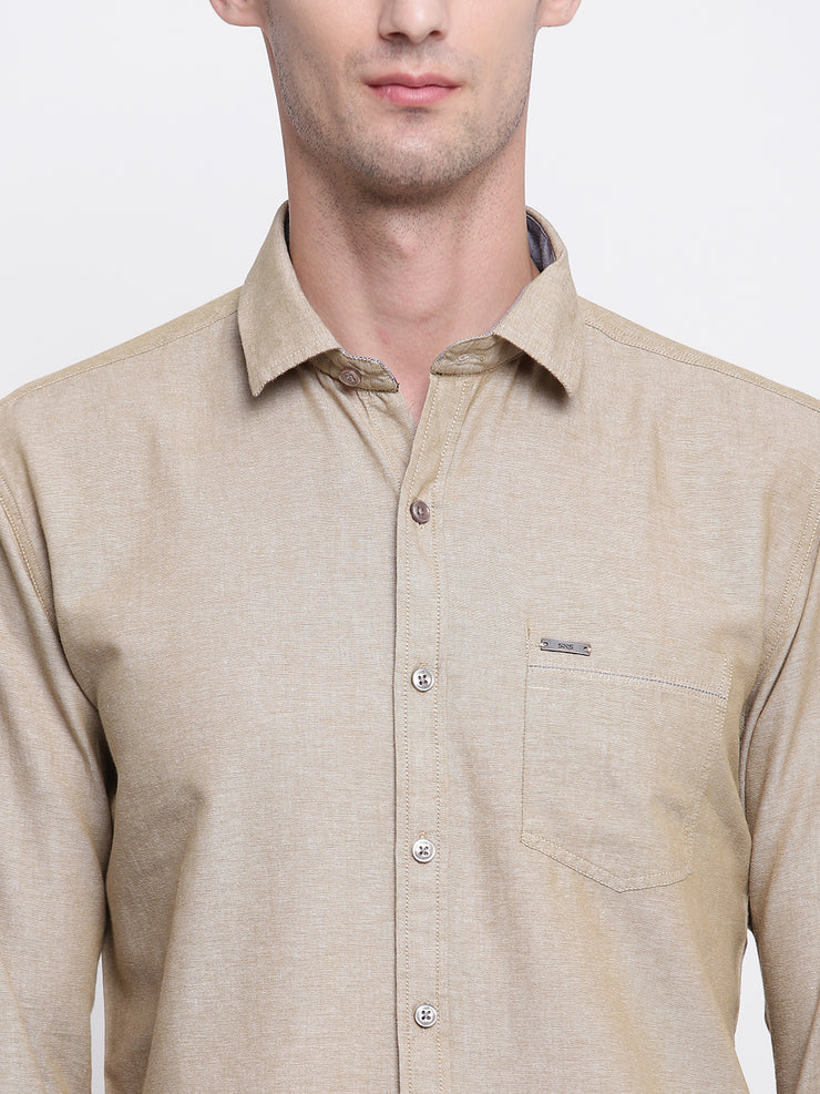 Beige Solid Cotton Full Sleeves Shirt