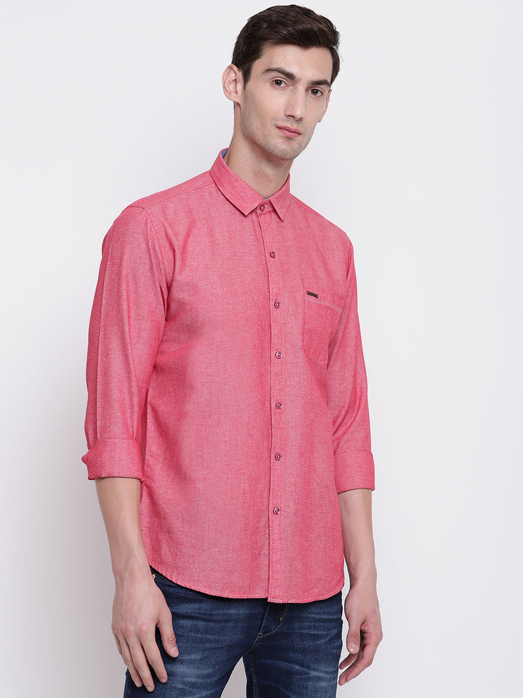 Pink Solid Cotton Full Sleeves Shirt