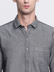 Grey Solid Cotton Full Sleeves Shirt