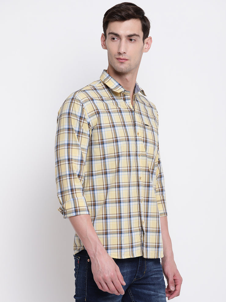 Checkered Yellow Spread Collar  Casual Cotton Shirt