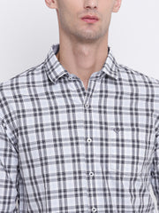 Black Regular fit Cotton Checkered Casual Shirt