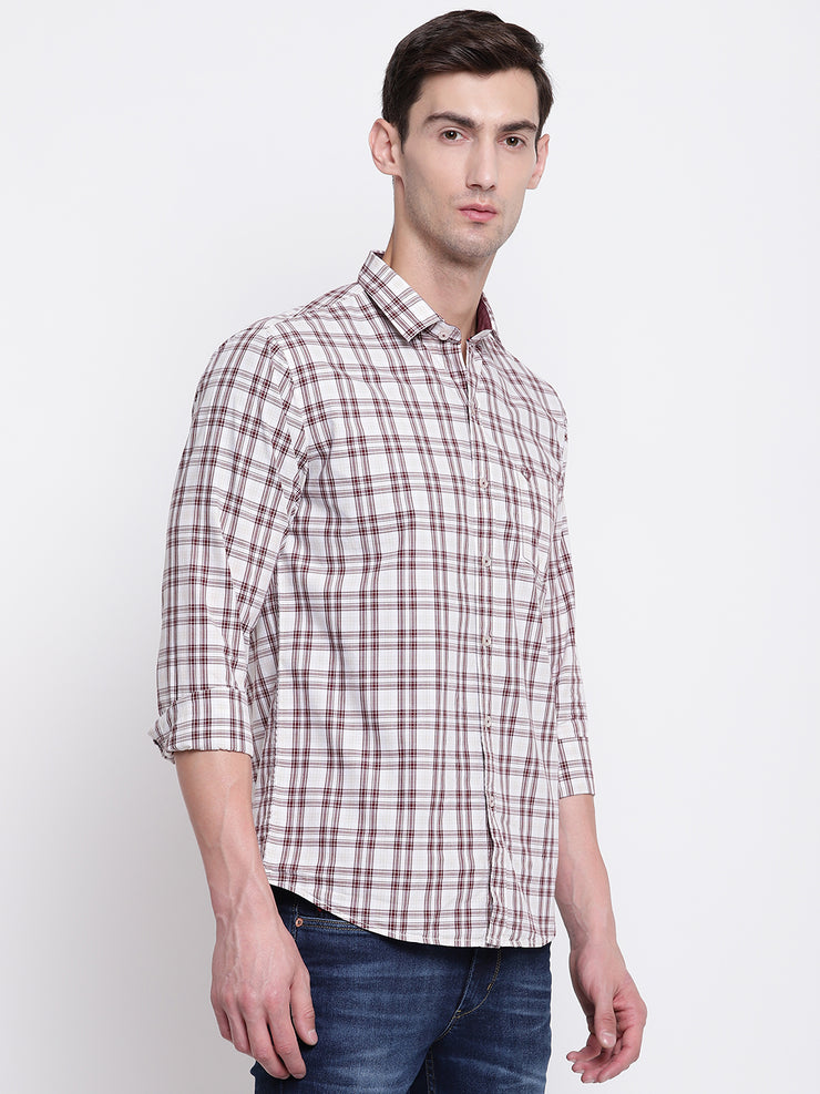 Brown Regular fit Cotton Checkered Casual Shirt