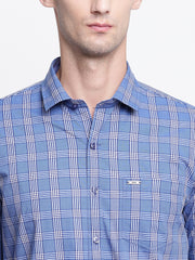 Checkered Casual Blue Cotton Shirt
