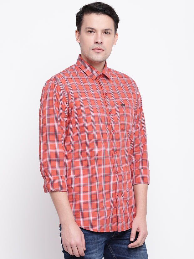 Checkered Casual Red Cotton Shirt