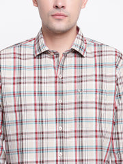 Checkered Beige Casual Spread Collar Cotton Shirt