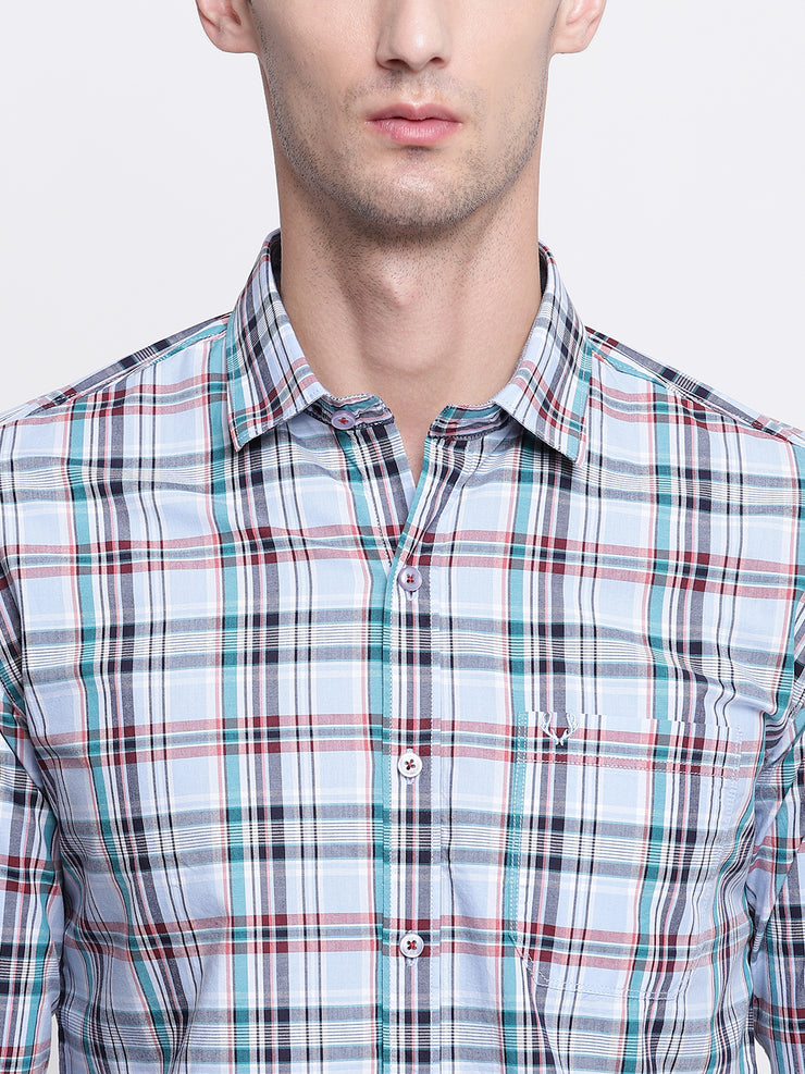 Checkered Blue Casual Spread Collar Cotton Shirt