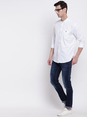 White Mandarin Collar Cotton Casual Shirt