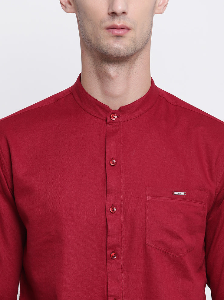 Red Mandarin Collar Cotton Casual Shirt