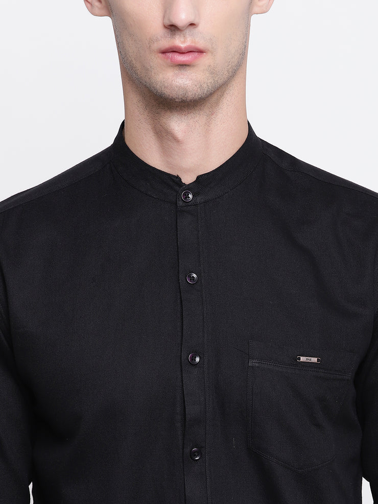 Black Mandarin Collar Cotton Casual Shirt