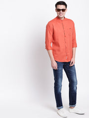 Brown Mandarin Collar Cotton Casual Shirt