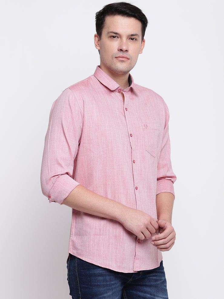 Pink Satin Regular Fit Casual Shirt