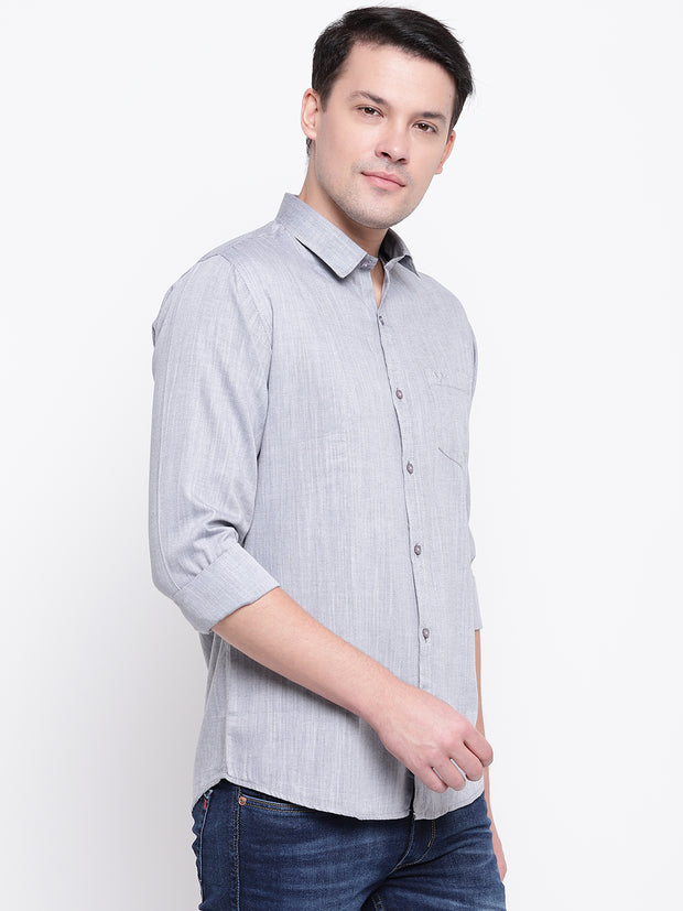 Grey Satin Regular Fit Casual Shirt