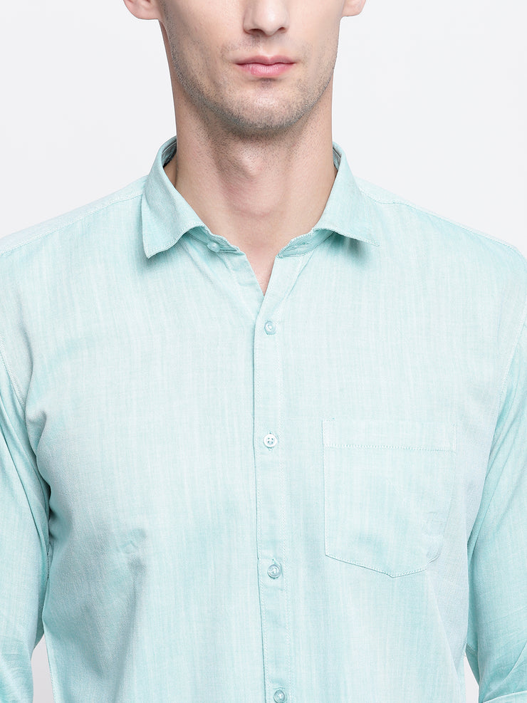 Green Satin Regular Fit Casual Shirt