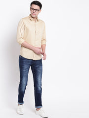 Beige Regular Fit Casual Satin Shirt