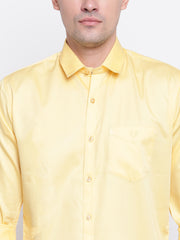 Yellow Regular Fit Casual Satin Shirt