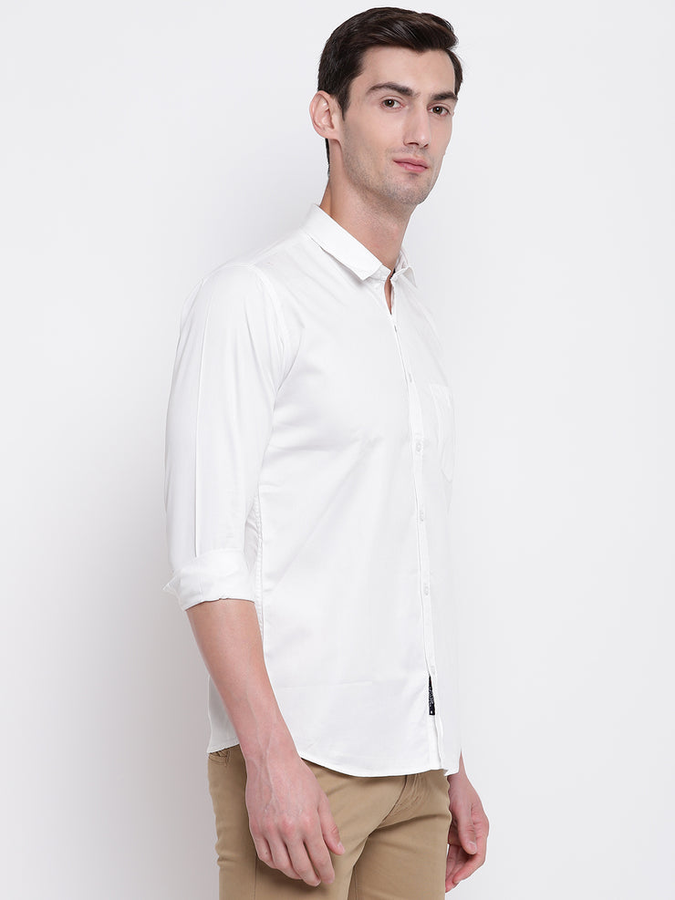 White  Regular Fit Casual Satin Shirt