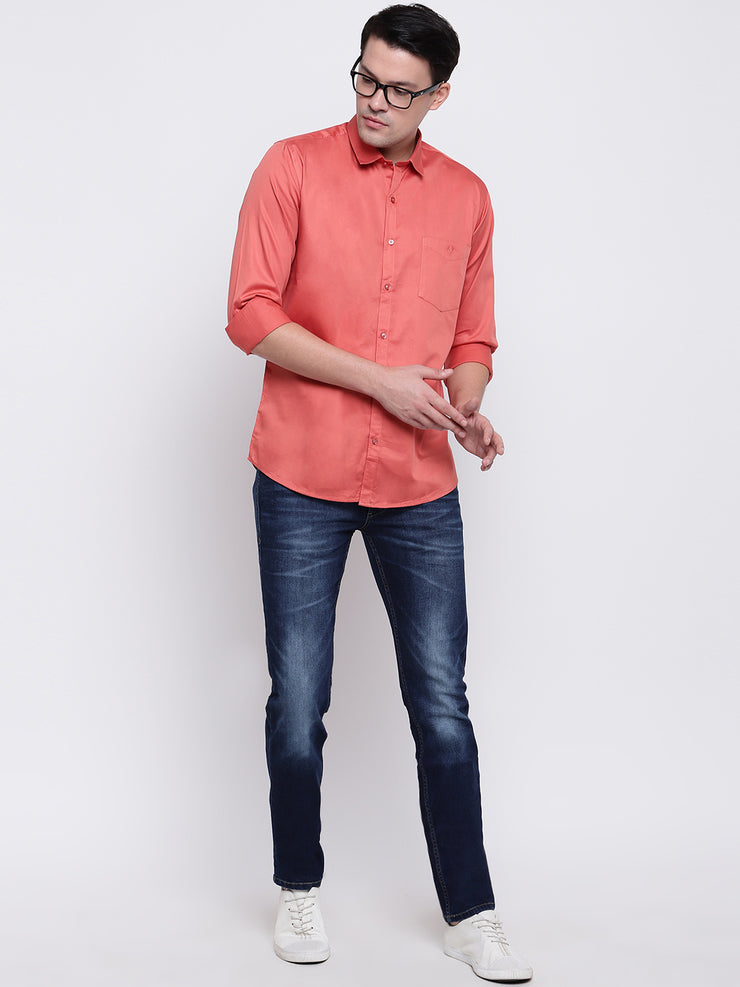 Orange  Regular Fit Casual Satin Shirt