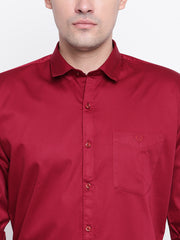 Maroon Regular Fit Casual Satin Shirt