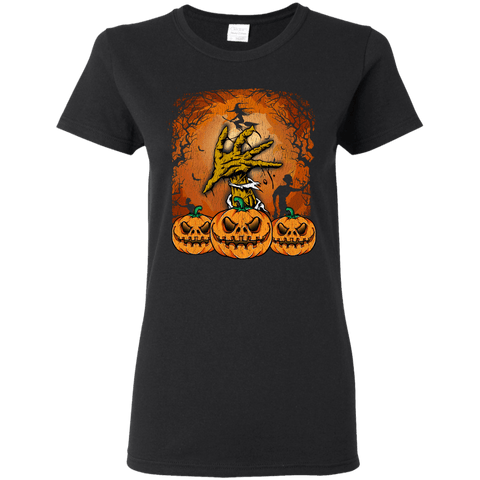 Image of Halloween Lover of Witches, Pumpkins or Zombies Ladies' 5.3 oz. T-Shirt