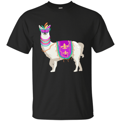 Mardi Gras Llama Beads Mask Cotton T-Shirt,Zany T-Shirt