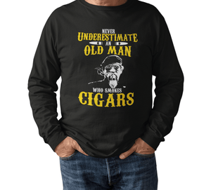 Old Man Smokes Cigars