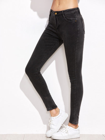 Black Skinny Button Fly Jeans