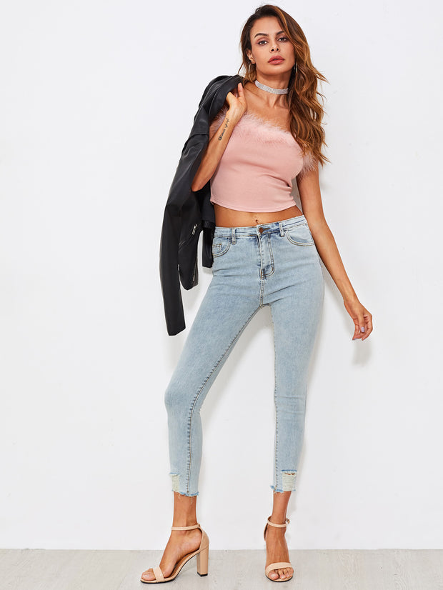 Faded Frayed Skinny Ankle Jeans